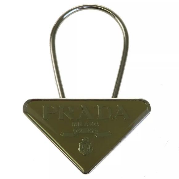 ecad7e2ded91 Prada Jewelry | Silver Plated Enamel Key Fob Bag Charm | Poshmark